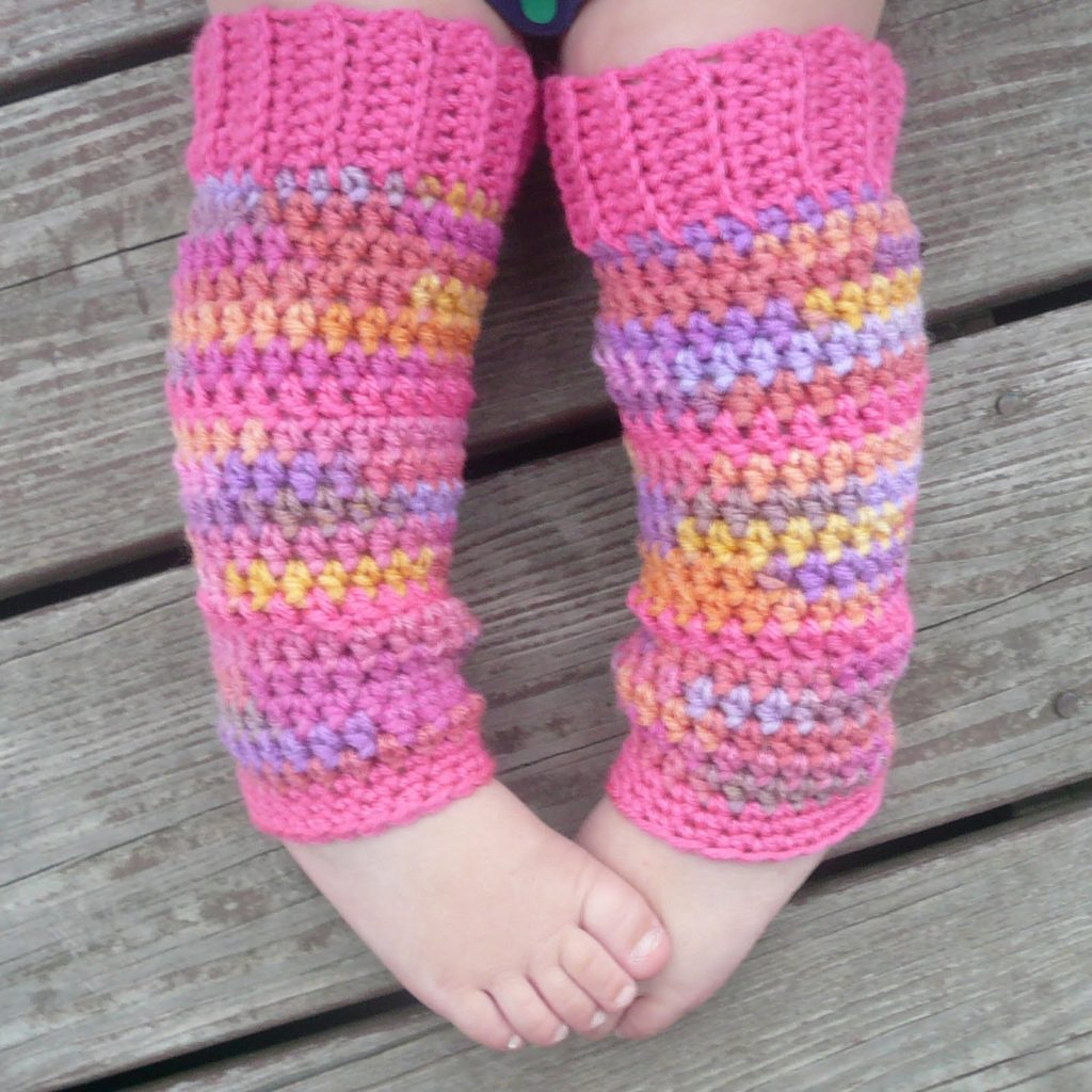 Crochet Toddler Leg Warmer Pink and Purple