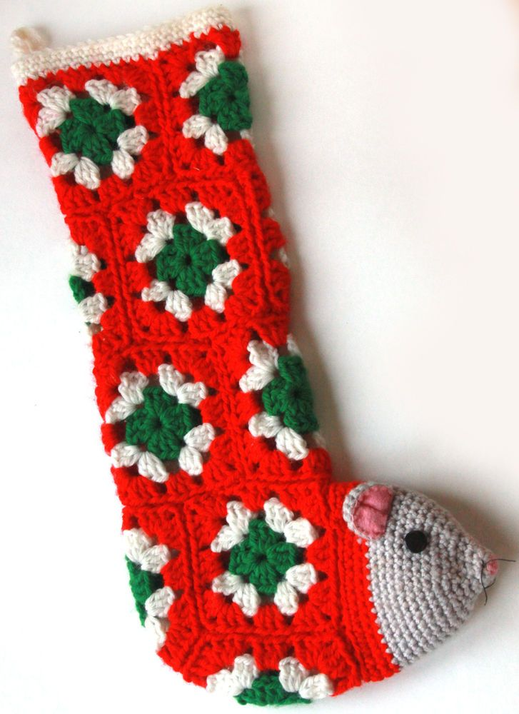 Crocheted Christmas Stockings in Granny Square Pattern