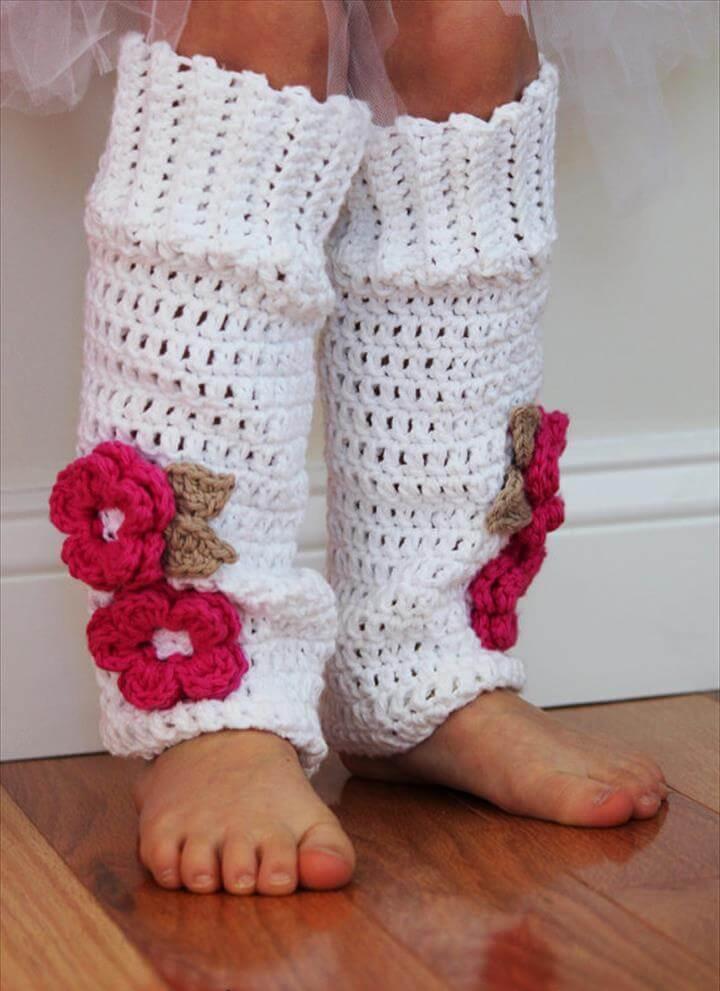 Flowered Crocheted Leg Warmers
