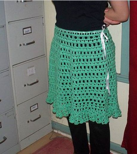 Crocheted Skirt in Green