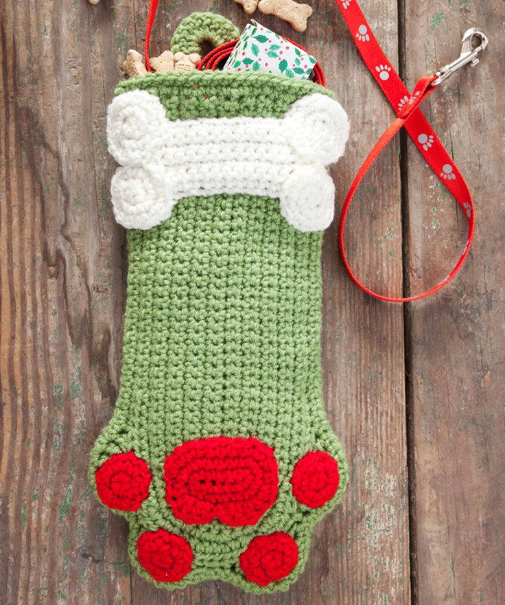 Dog Paws Crochet Christmas Stocking