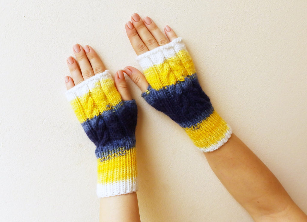 Blue, Yellow and White Fingerless Glove Crochet Pattern