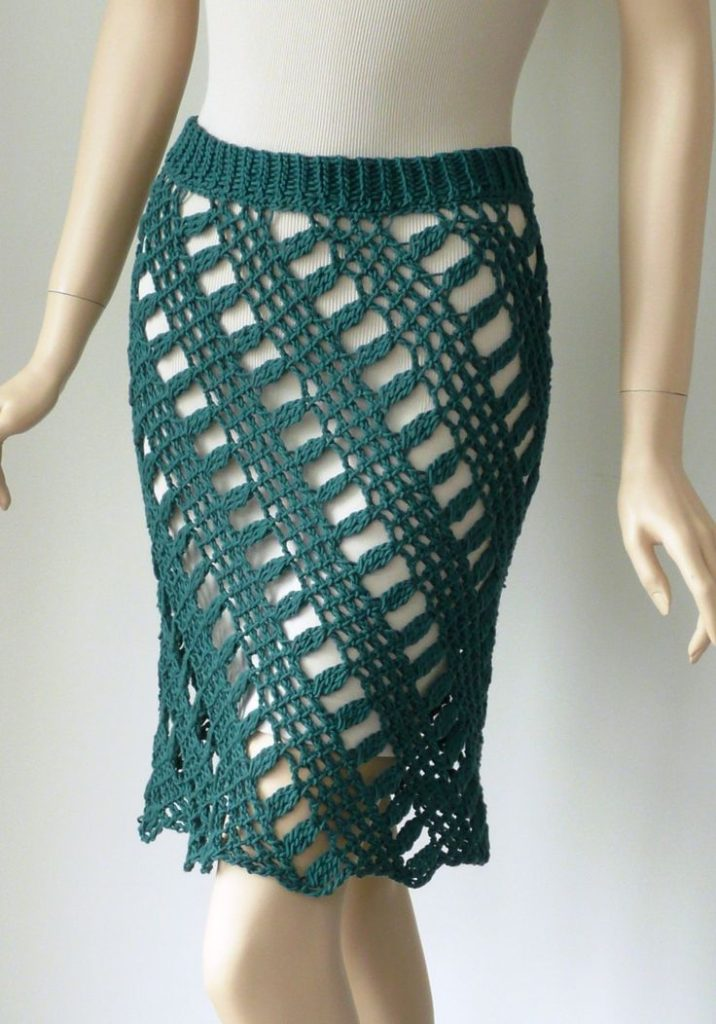 Slanted Crochet Skirt