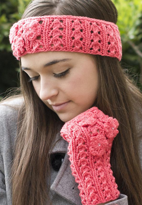 Lace and Flower Detail Crochet Ear Warmer Pattern