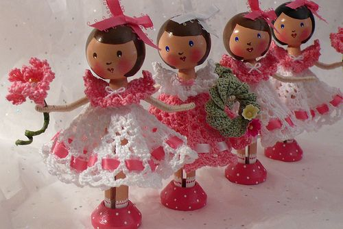 Clothespin Doll with Crochet Dress Pattern