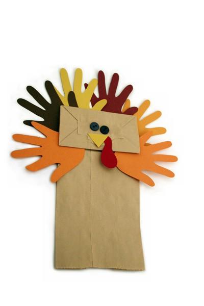 Hand Puppet Craft - Paper Bag Turkey