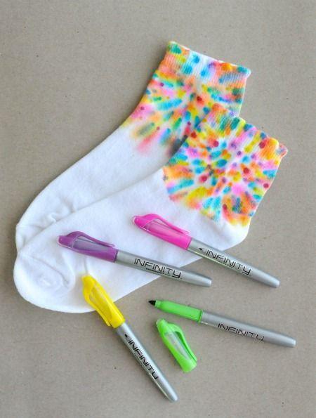 Permanent Marker Tie Dye Socks