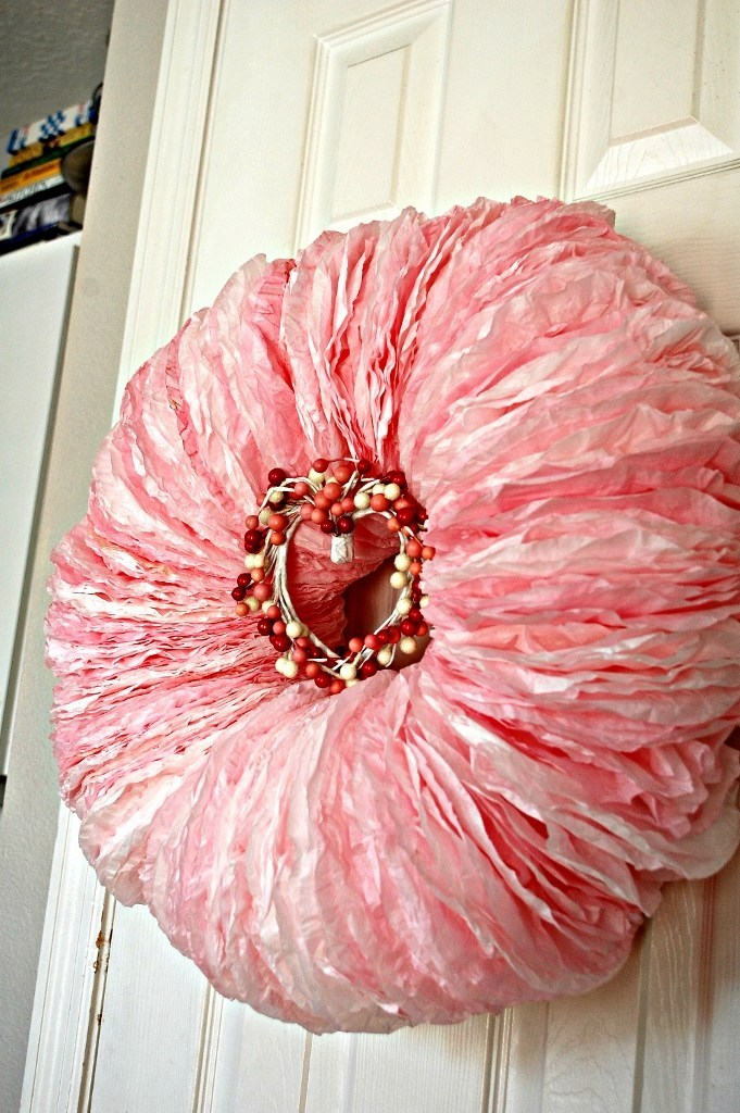 Pink Coffee Filter Wreath
