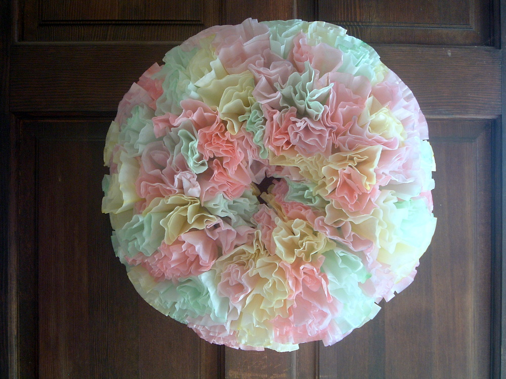 Spring Coffee Filter Wreath