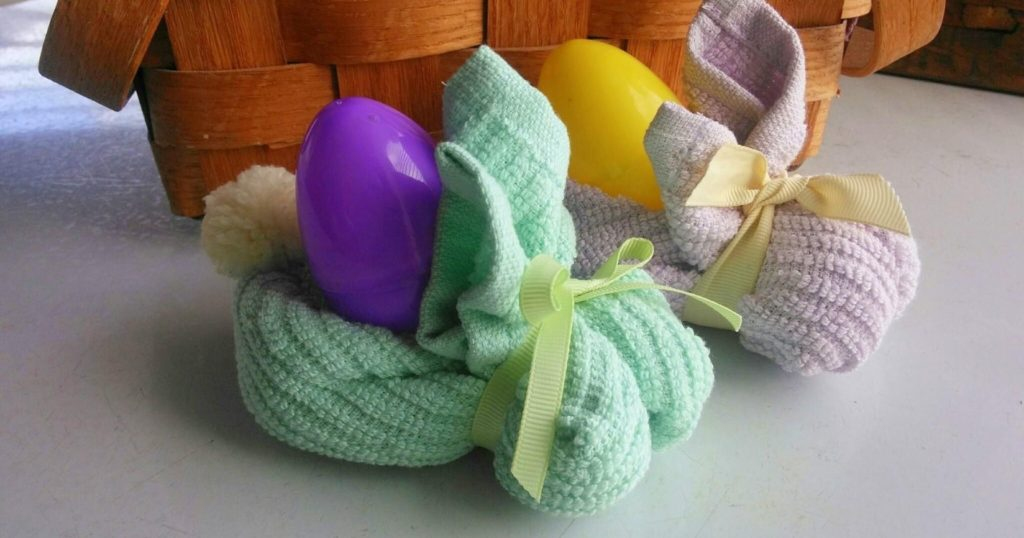 Washcloth Bunnies with Plastic Eggs