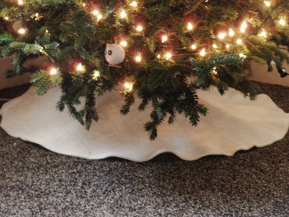 White Burlap Christmas Tree Skirt