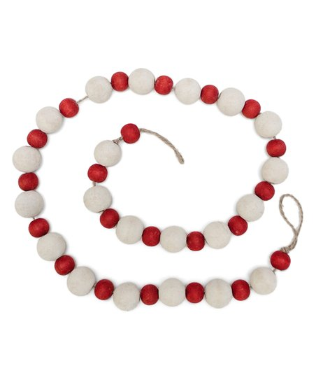 Wood Beaded Garland - Red White Combination