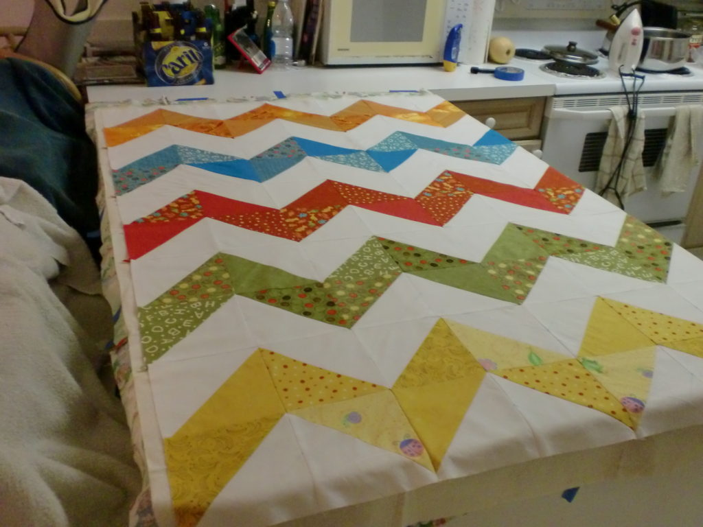 Zigzag or Ricky-Rack Patther of A Quilted Table Runner Handmade