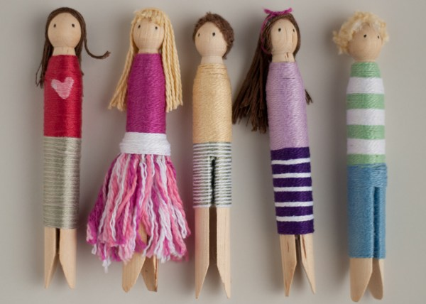 Colorful Clothespin Dolls