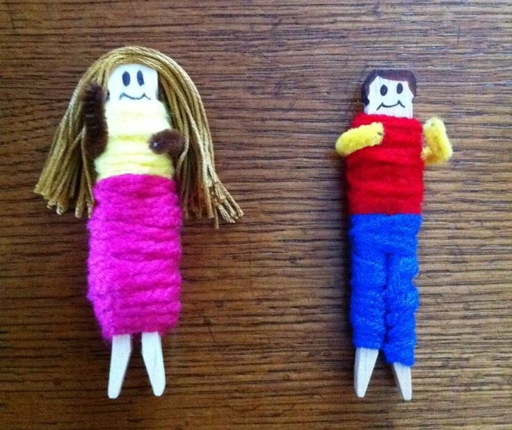 DIY Yarn Wrapped Dolls using Craft Sticks