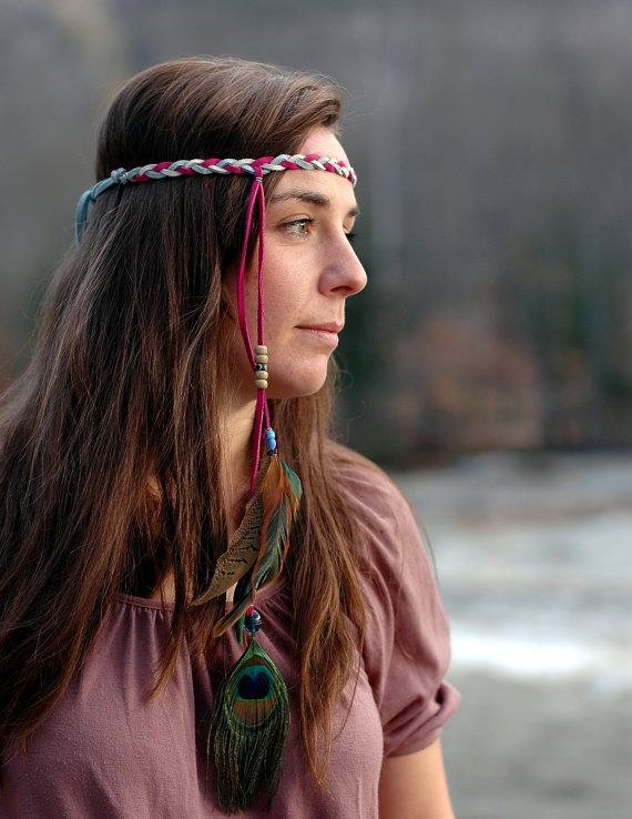 Leather Headband with Feathers