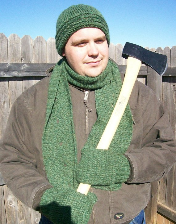 Mens Scarf and Hat Set Crochet Pattern