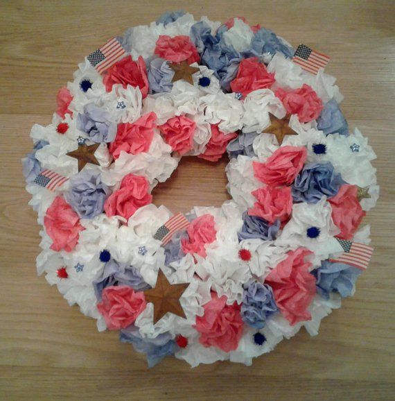 Red, White, and Blue Coffee Filter Wreath