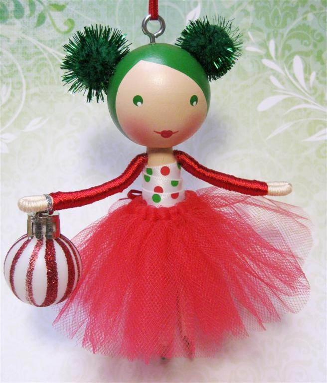 Ballerina Clothespin Doll Ornament for Christmas