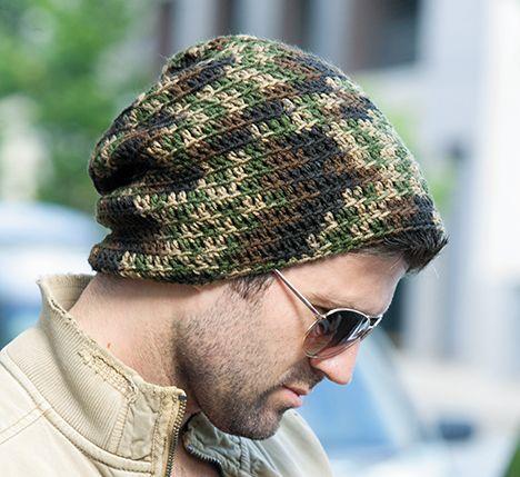 Mens Camouflage Crochet Hat Pattern