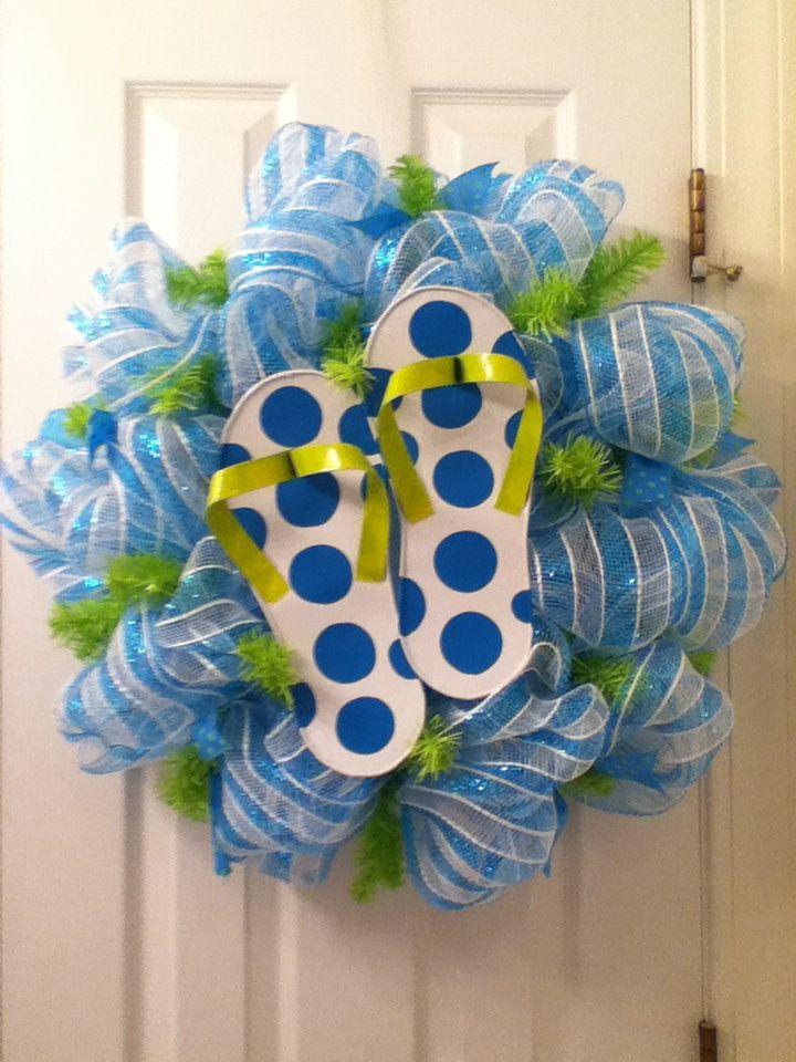 Flip Flop Deco Mesh Wreath