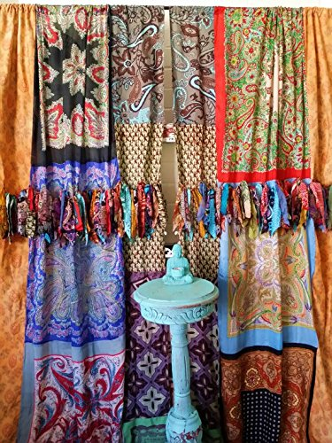 Patchwork Bedroom Curtains Made from Vintage Scarves