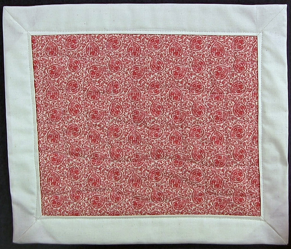 red and white quilted placemats