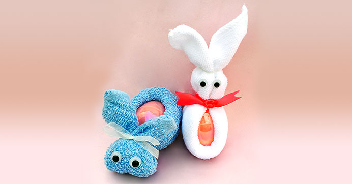For Easter - Washcloth Bunnies