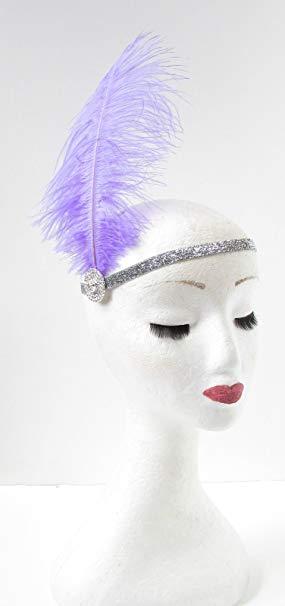 Purple Ostrich Feather Headband