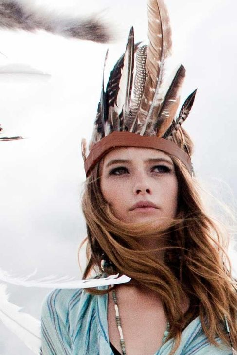 Feather Headband Headdress in Crown Style