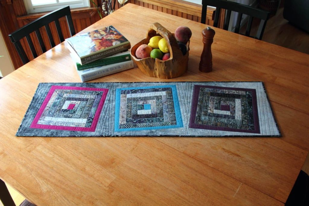 Quilted Table Runner - Fused Log Cabin