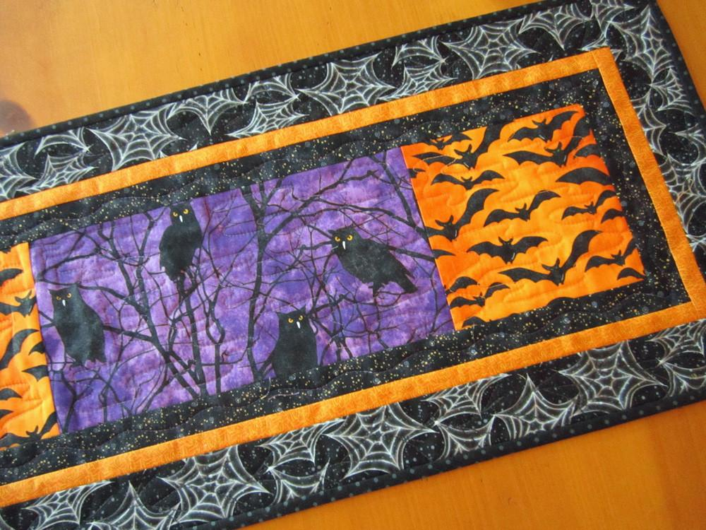 Quilted Owl Table Runner For Halloween