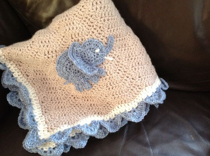 Crochet Baby Afghan with Elephant