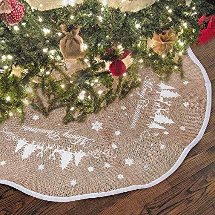 Printed Burlap Christmas Tree Skirt