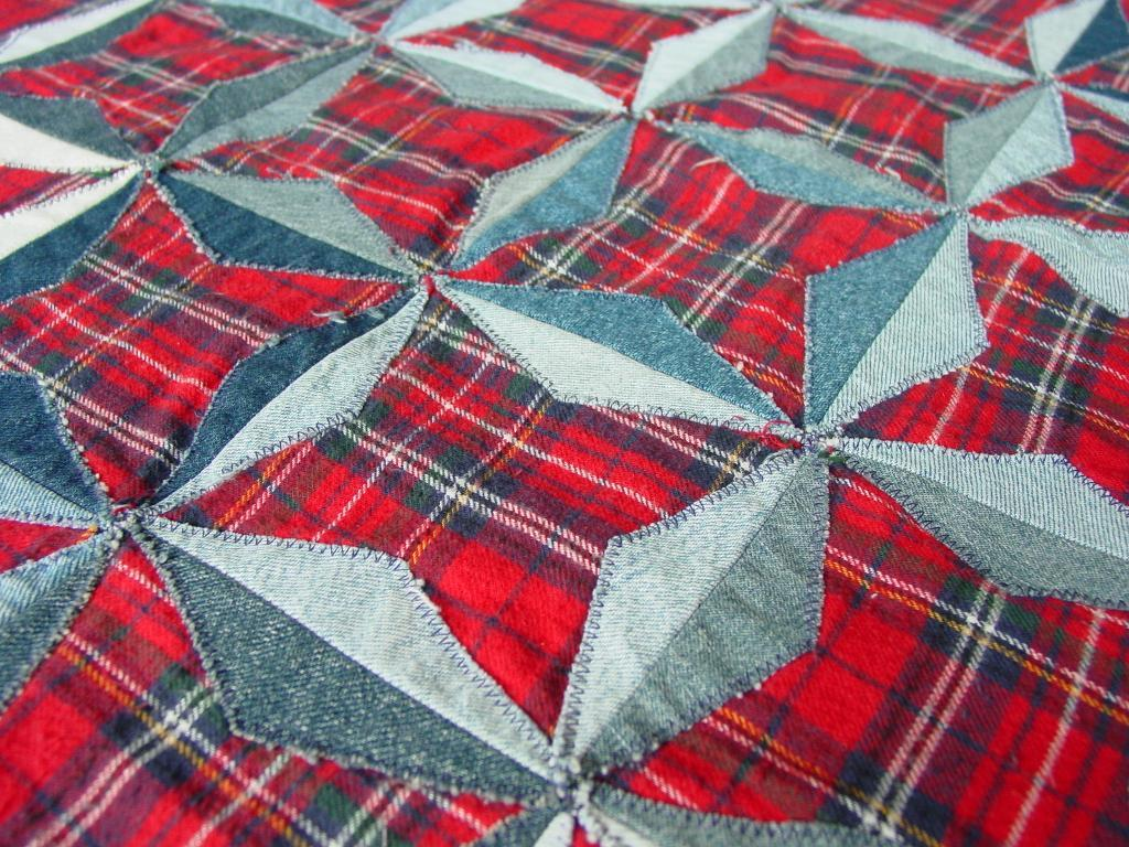 Vintage Shirt Plaid Patchwork Quilt