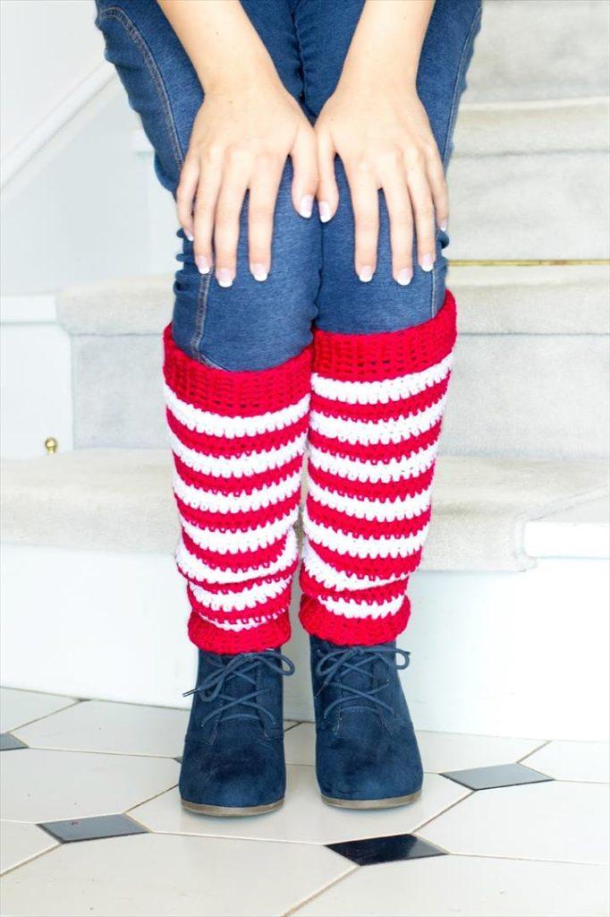 Adult Candy Cane Leg Warmer Crochet Pattern