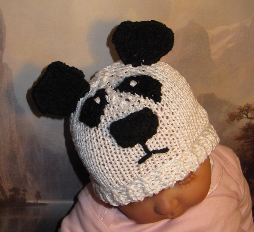 Panda Beanie Hat Knitting Pattern