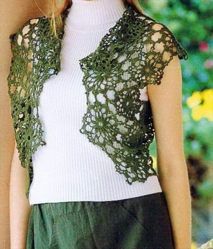 crochet shrug bolero vest
