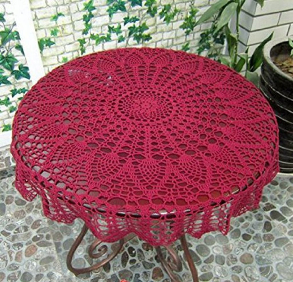 red crochet lace tablecloth pattern