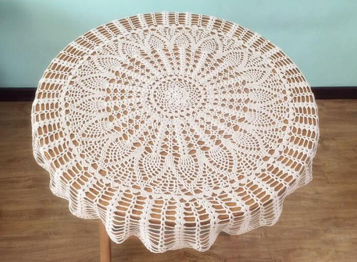 round white lace crochet tablecloth pattern