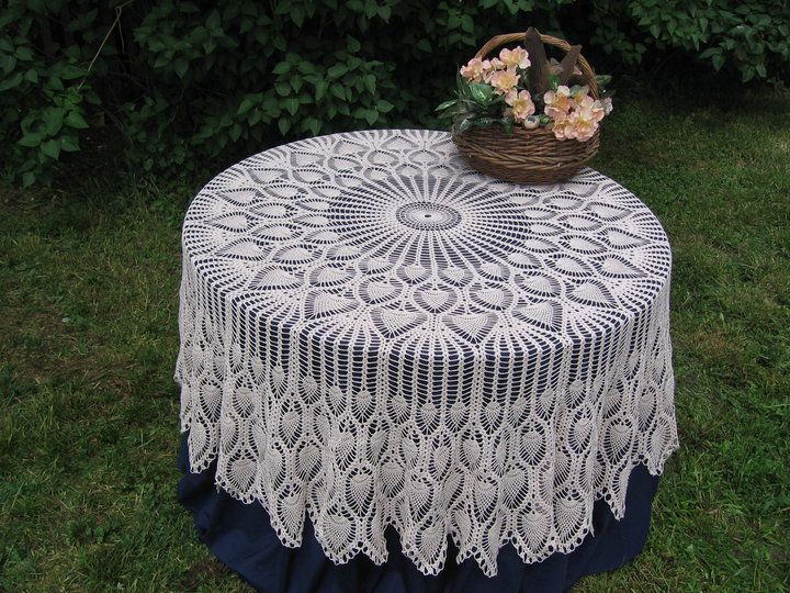 white sun lace crochet tablecloth pattern