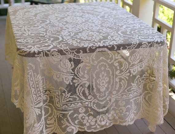 beige large lace crochet tablecloth pattern
