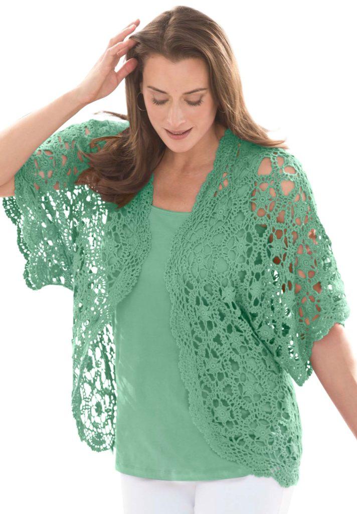 green crochet shrug