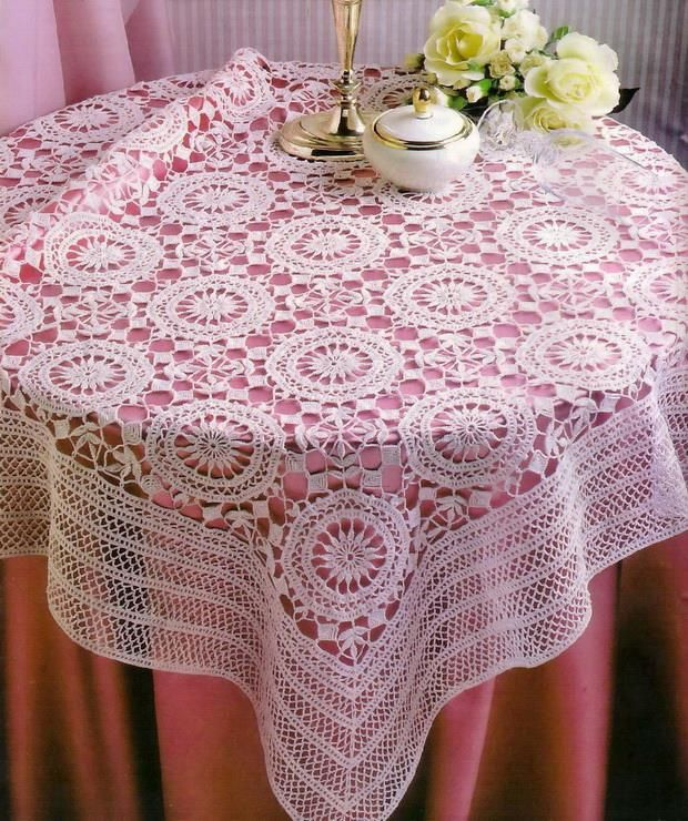 white lace crochet tablecloth pattern