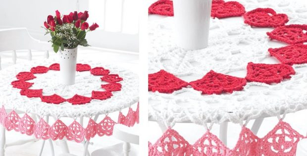 red and white lace crochet tablecloth pattern