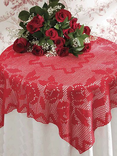 red lace crochet tablecloth pattern