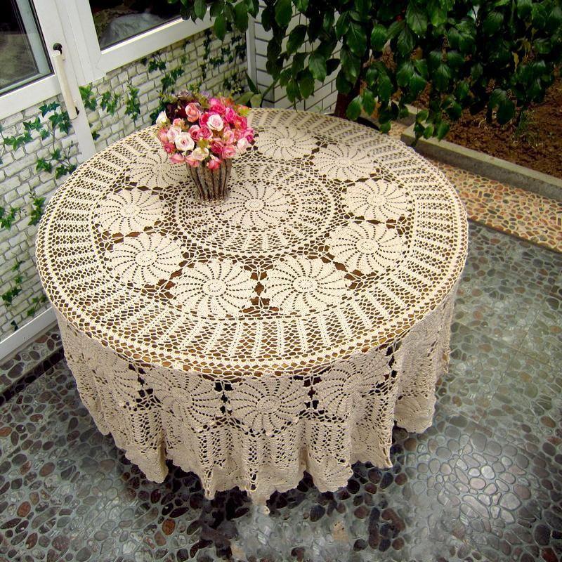 beige crochet lace tablecloth pattern