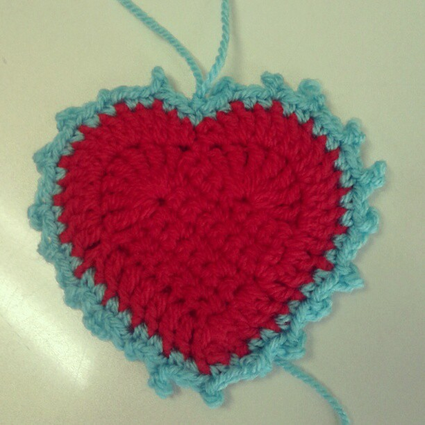 Blue and red crocheted heart
