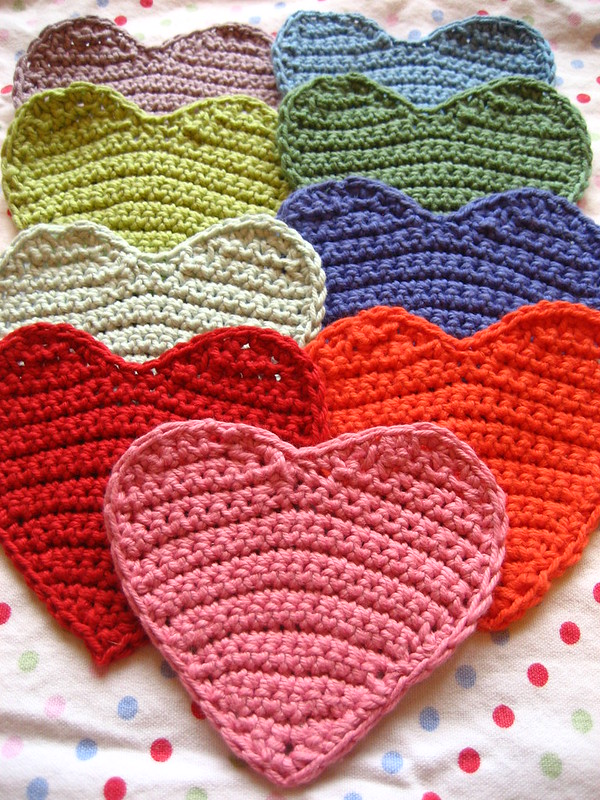 Multi-colored crocheted hearts