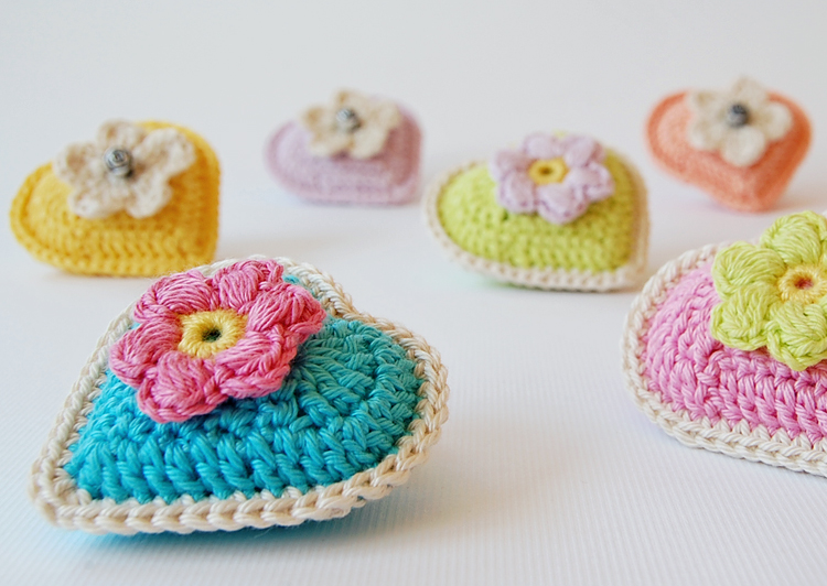 Crocheted springtime floral hearts
